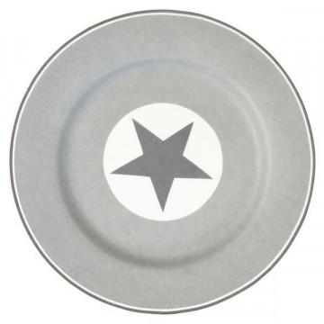 Plato de cerámica de postre Big Star grey Green Gate