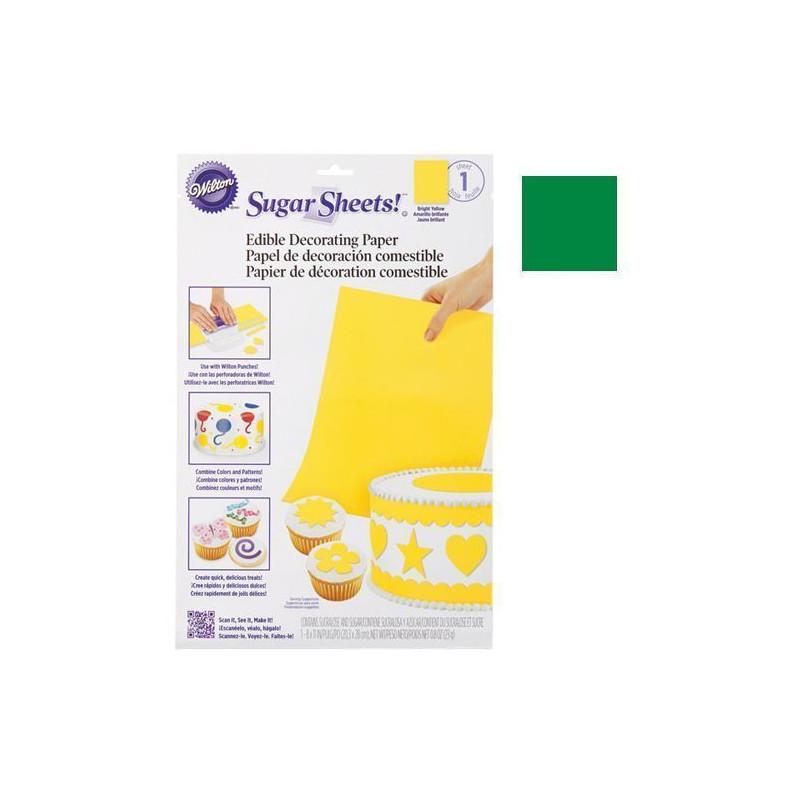 Hoja de papel de azúcar comestible y flexible Verde Brillante Wilton