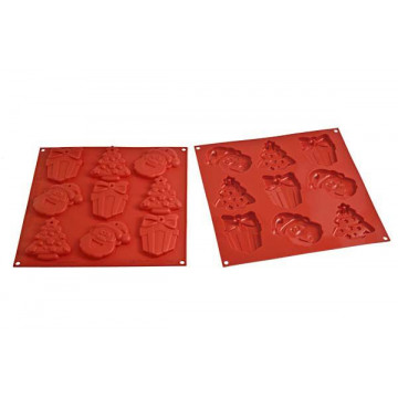 Molde silicona bizcochitos, piruletas My Christmas Cookies rojo SLK