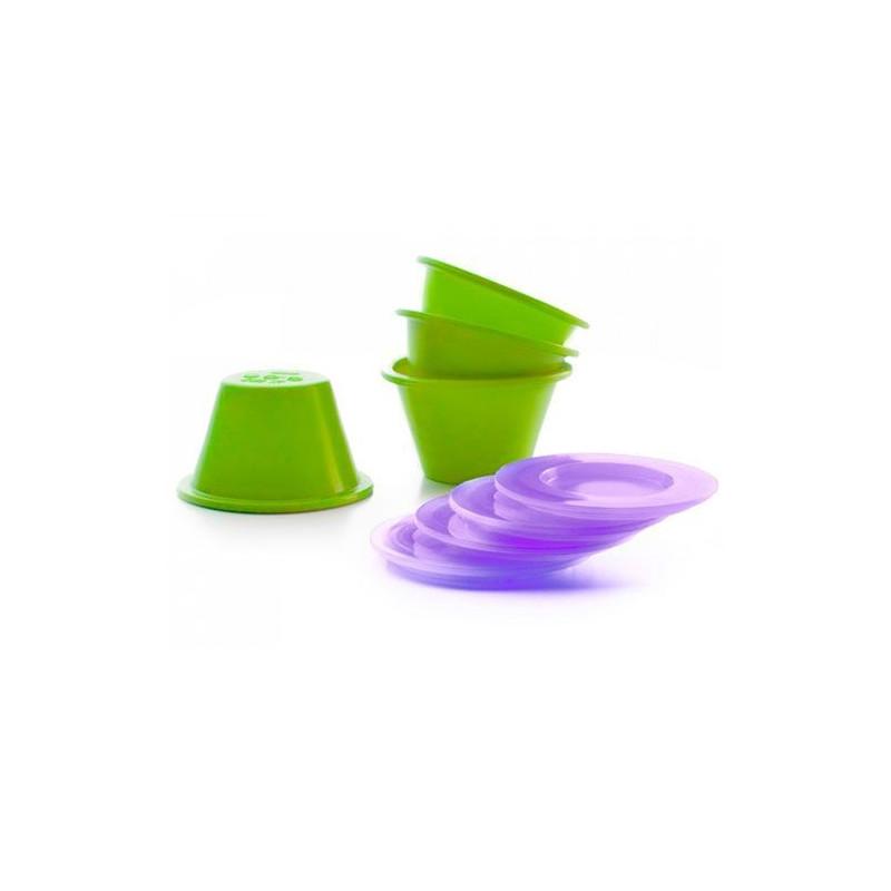 Pack 4 moldes de silicona para flan con tapa Ibili