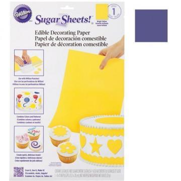 Hoja de papel de azúcar comestible y flexible Purpura Wilton