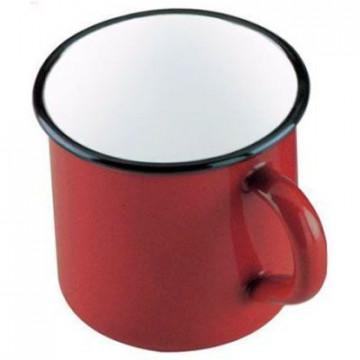Tazón con asa esmaltado rojo Ibili