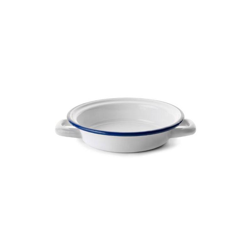 Plato con asa esmaltado blanco Ibili
