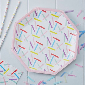 Plato de papel Confetti Colores Pick and Mix