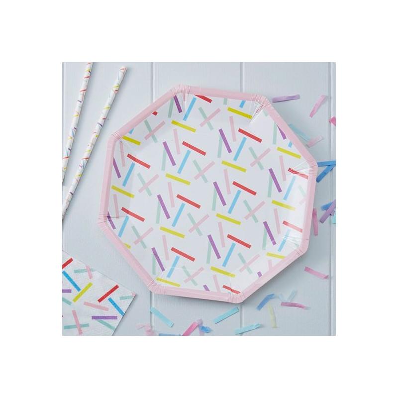 Plato de papel Confetti Colores