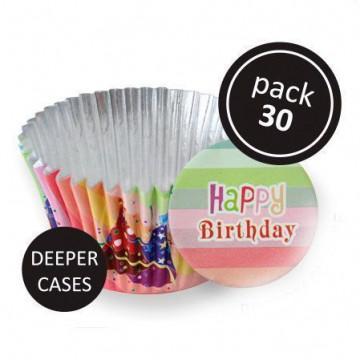 Cápsulas cupcakes antigrasa cumpleaños colores PME