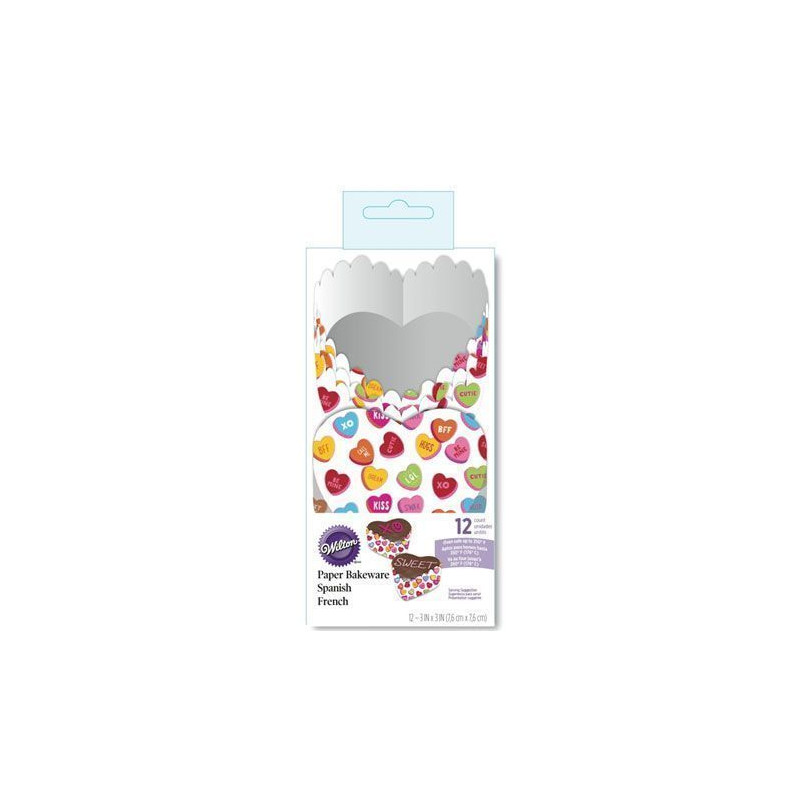 Pack de 12 moldes desechables para hornear Words Can Express Wilton