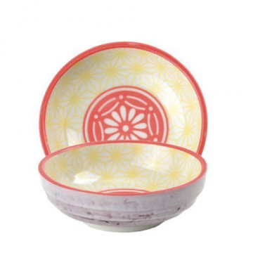 Bol de cerámica mini coral, amarillo y violeta Star Wave