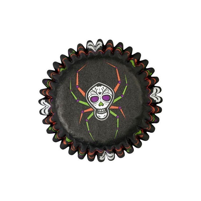 Cápsula mini cupcakes negra calavera halloween Wilton