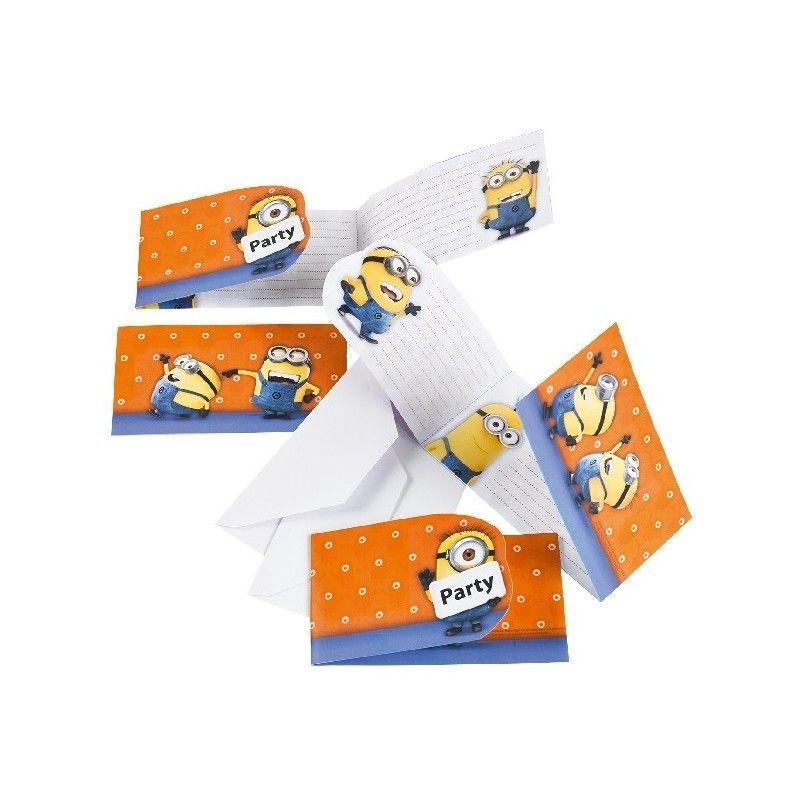 Pack 6 invitaciones de cumpleaños Los Minions