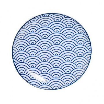 Plato de cerámica olas blanco y azul Nippon Blue