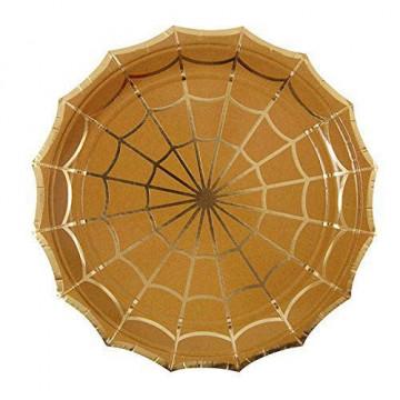 Platos de fiesta dorado Tela de araña Halloween Meri Meri