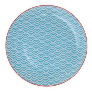 Plato de cerámica Olas Blanco y Azul Nippon Blue [CLONE]