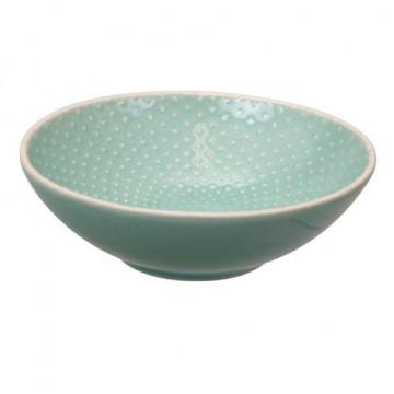 Bol de cerámica bajo Puntos Verde Menta Textured