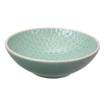 Bol de cerámica bajo Panel de Abejas Verde Menta Textured