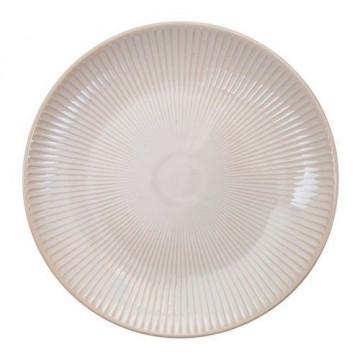 Plato de cerámica Rayas blanco Textured