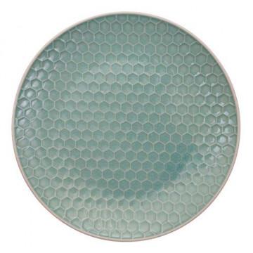 Plato de cerámica Panel de abeja verde menta Textured