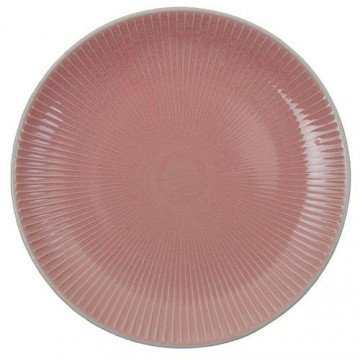 Plato de cerámica Rayas rosa Textured