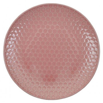 Plato de cerámica Panel de abeja rosa Textured