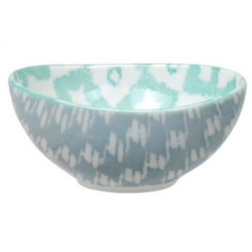 Bol de cerámica oval verde menta y gris Kasuri