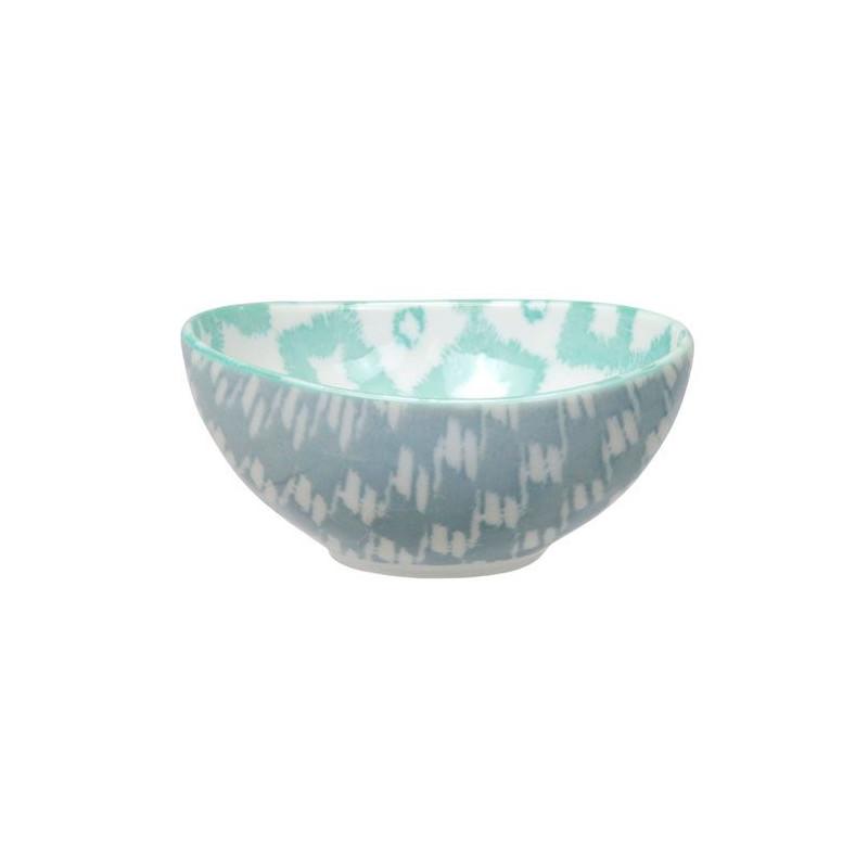 Bol de cerámica verde menta y gris Kasuri