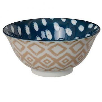 Bol de cerámica beig tostado y azul Kasuri