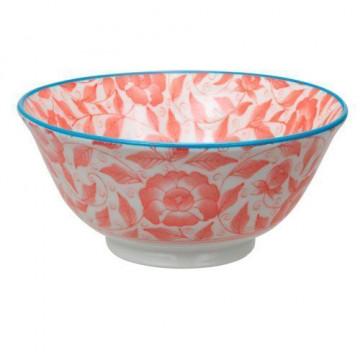 Bol de cerámica flores coral Botanique