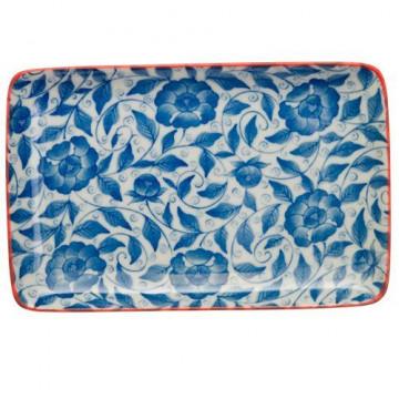 Bandeja de presentación rectangular flores azul marino Botanique
