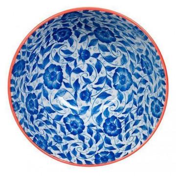 Plato de cerámica Flores azul marino Botanique