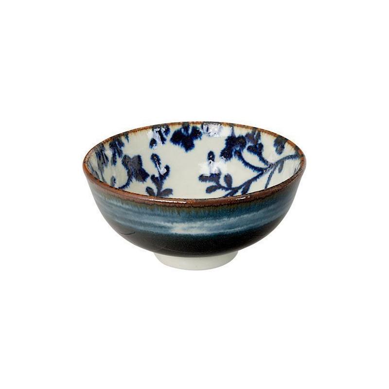 Bol de cerámica fondo blanco flores azul Fleur de Ligne