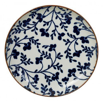 Plato de cerámica fondo blanco flores azul Fleur de Ligne