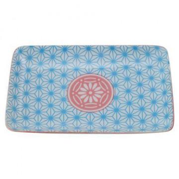 Bandeja de presentación rectangular azul y rosa Star Wave