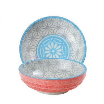 Bol de cerámica mini azul, gris y coral Star Wave
