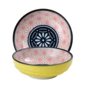 Bol de cerámica mini azul marino, coral y amarillo Star Wave