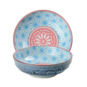 Bol de cerámica mini azul y coral Star Wave