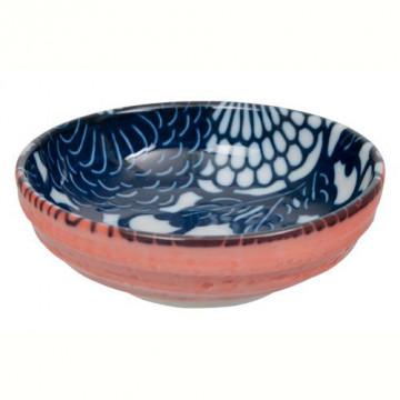 Bol de cerámica mini azul marino y coral Shiki
