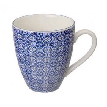 Tazón con asa flores mosaico azul Nippon blue