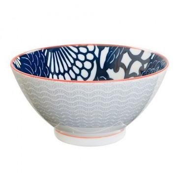 Bol de cerámica grande Peonía azul y gris Shiki