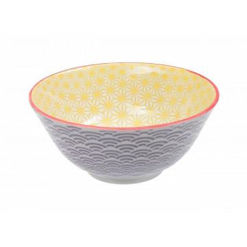 Bol de cerámica amarillo y violeta Star Wave