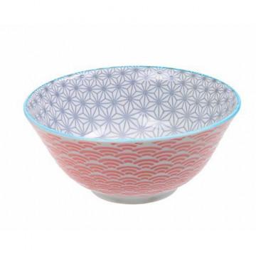 Bol de cerámica gris y coral Star Wave
