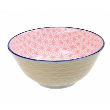 Bol de cerámica rosa y amarillo Star Wave