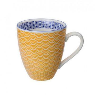 Tazón con asa amarillo y azul Star Wave