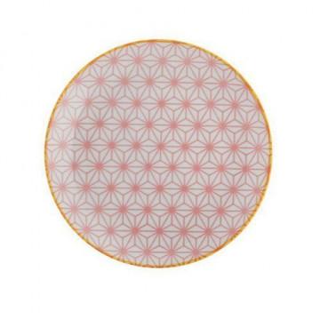 Plato de cerámica rosa Star wave