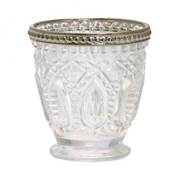 Vaso de cristal labrado con borde oro Green Gate