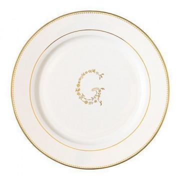 Plato de cerámica grande blanco y oro G Green Gate