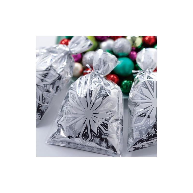 Pack de 8 bolsas plata y copo de nieve Navidad Wilton