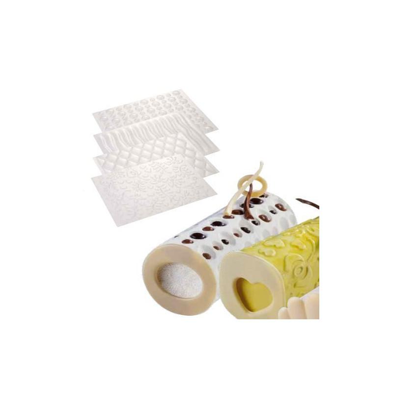 Pack 4 plantillas texturizadoras Cilindro 360ºC Martellato