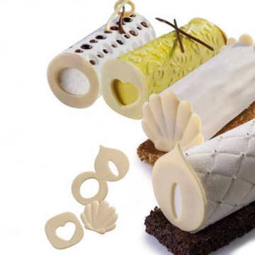 Kit 4 texturizadores + 4 moldes de decoraciones de chocolate Martellato