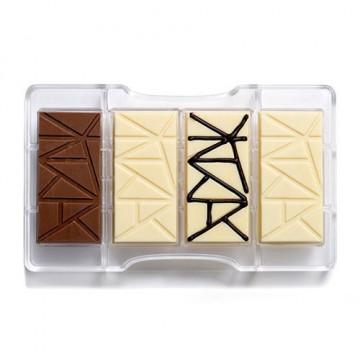 Molde de policarbonato para 4 tabletas Triángulos Decora