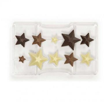 Molde de policarbonato para 10 bombones Estrellas Decora